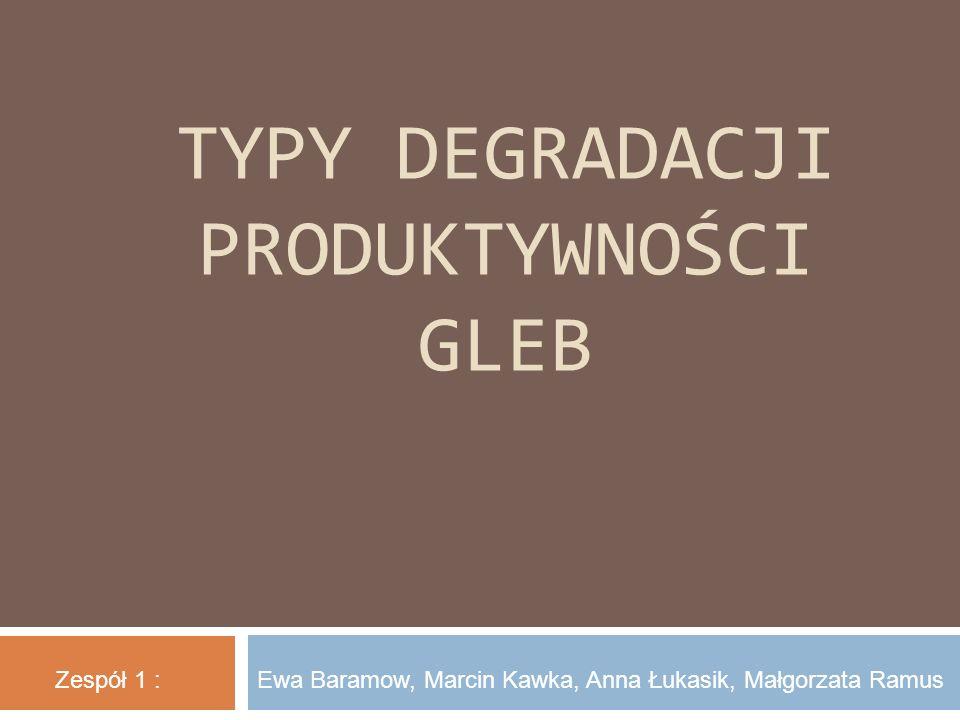 TYPY DEGRADACJI PRODUKTYWNOŚCI GLEB Zespół 1 :Ewa Baramow, Marcin Kawka, Anna Łukasik, Małgorzata Ramus