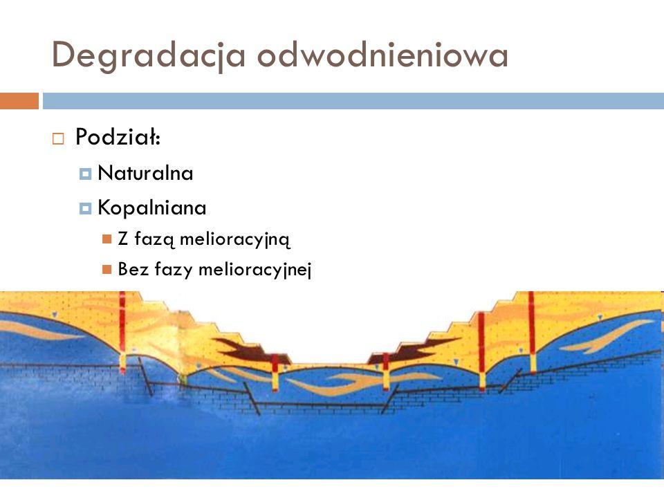 Degradacja odwodnieniowa Podział: Naturalna Kopalniana Z fazą melioracyjną Bez fazy melioracyjnej