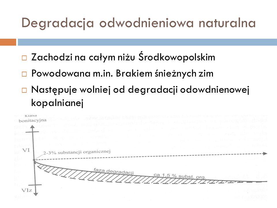 Degradacja odwodnieniowa naturalna Zachodzi na całym niżu Środkowopolskim Powodowana m.in. Brakiem śnieżnych zim Następuje wolniej od degradacji odowd