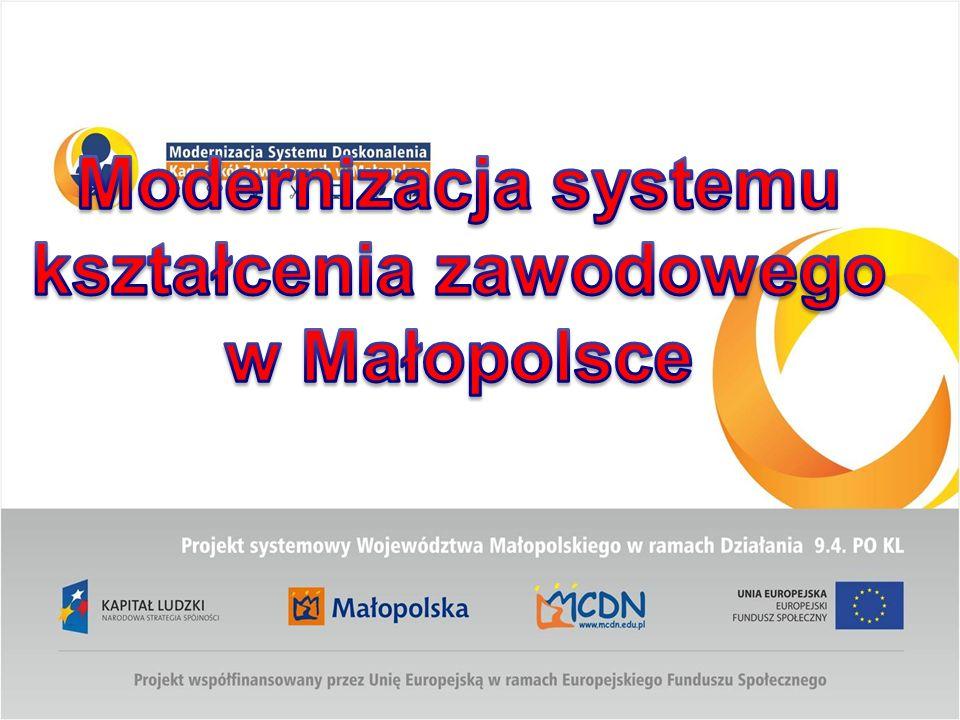Komplementarność wsparcia szkolnictwa zawodowego Działanie 9.2 PO KL Wsparcie uczniów i szkół zawodowych Działanie 9.4 PO KL Wsparcie kadry pedagogicznej szkół zawodowych Projekt systemowy ( 2010 – 2014) Projekt systemowy Modernizacja kształcenia zawodowego w Małopolsce 70% Dodatkowe uprawnienia zawodowe 30% Wsparcie kompetencji kluczowych Modernizacja systemu doskonalenia kadr szkół zawodowych w Małopolsce