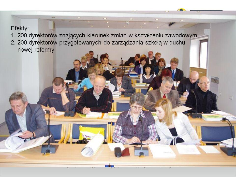 Efekty: 1. 200 dyrektorów znających kierunek zmian w kształceniu zawodowym 2. 200 dyrektorów przygotowanych do zarządzania szkołą w duchu nowej reform
