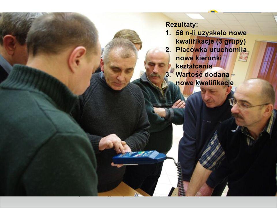 Rezultaty: 1.56 n-li uzyskało nowe kwalifikacje (3 grupy) 2.Placówka uruchomiła nowe kierunki kształcenia 3.Wartość dodana – nowe kwalifikacje