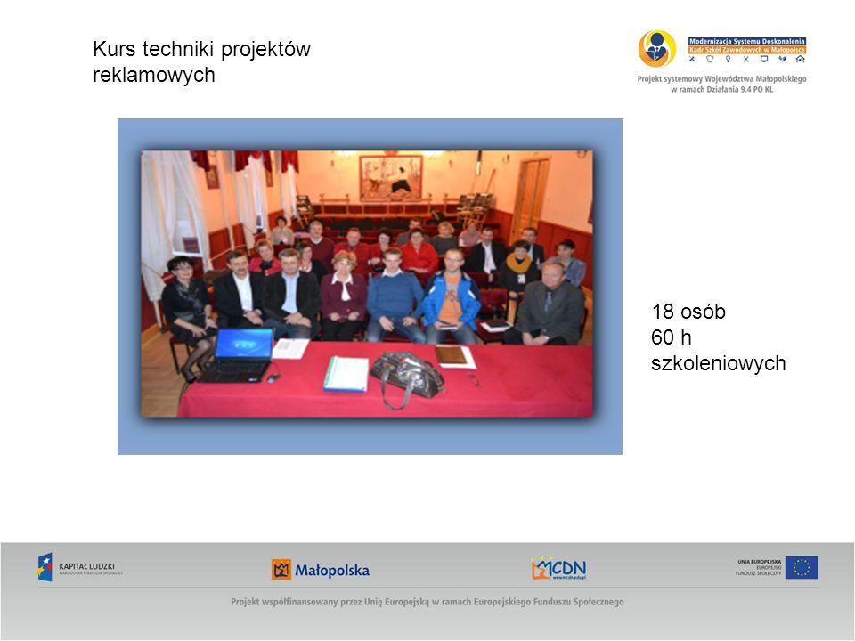 Kurs techniki projektów reklamowych 18 osób 60 h szkoleniowych