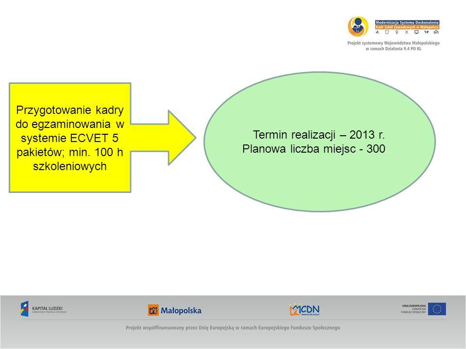 Przygotowanie kadry do egzaminowania w systemie ECVET 5 pakietów; min. 100 h szkoleniowych Termin realizacji – 2013 r. Planowa liczba miejsc - 300.