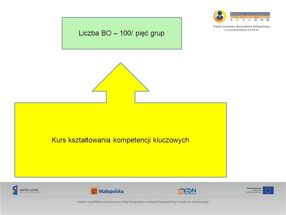 Kurs kształtowania kompetencji kluczowych Liczba BO – 100/ pięć grup