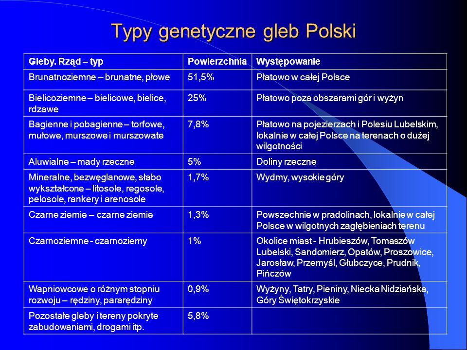 Typy genetyczne gleb Polski Gleby. Rząd – typPowierzchniaWystępowanie Brunatnoziemne – brunatne, płowe51,5%Płatowo w całej Polsce Bielicoziemne – biel