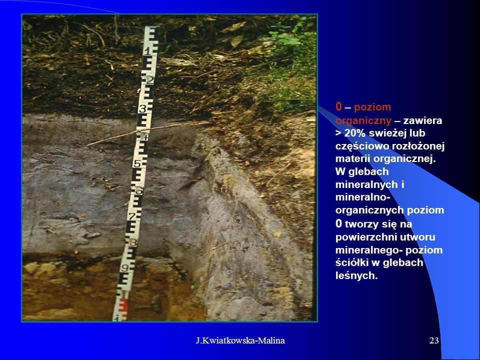 J.Kwiatkowska-Malina23 0 – poziom organiczny – zawiera > 20% swieżej lub częściowo rozłożonej materii organicznej. W glebach mineralnych i mineralno-
