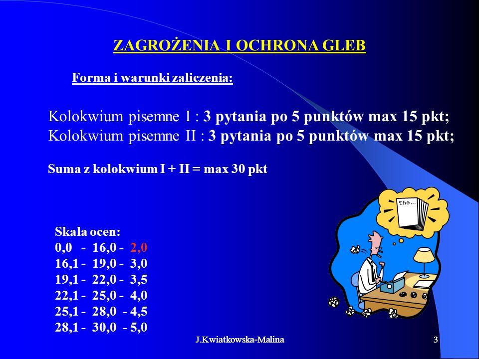 J.Kwiatkowska-Malina33 Forma i warunki zaliczenia: Kolokwium pisemne I : 3 pytania po 5 punktów max 15 pkt; Kolokwium pisemne II : 3 pytania po 5 punk