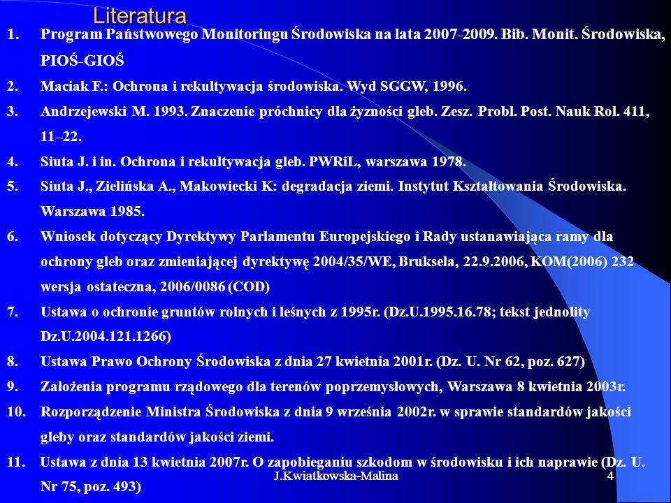 44Literatura 1.Program Państwowego Monitoringu Środowiska na lata 2007-2009. Bib. Monit. Środowiska, PIOŚ-GIOŚ 2.Maciak F.: Ochrona i rekultywacja śro
