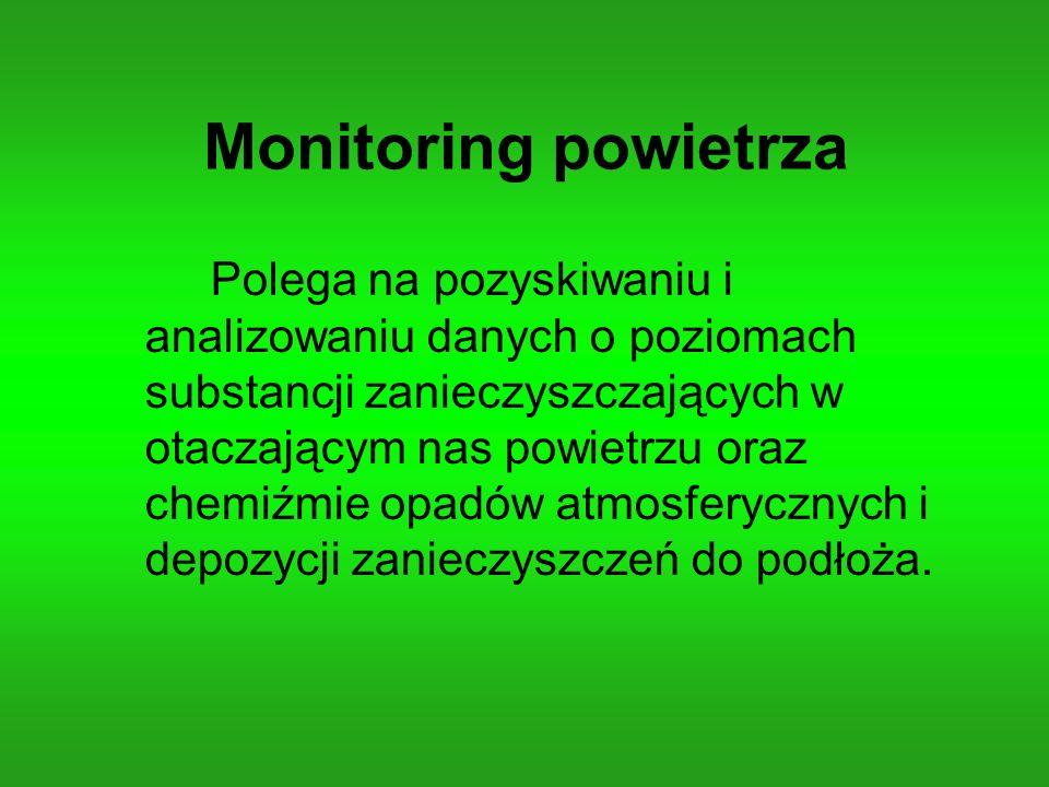Monitoring powietrza Polega na pozyskiwaniu i analizowaniu danych o poziomach substancji zanieczyszczających w otaczającym nas powietrzu oraz chemiźmi