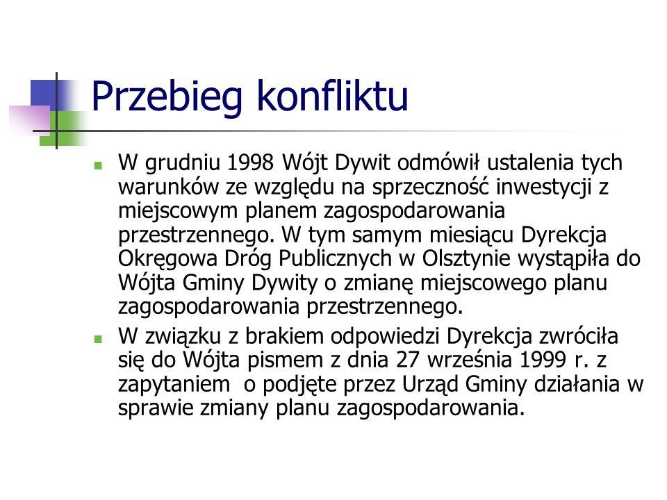 Przebieg konfliktu W grudniu 1998 Wójt Dywit odmówił ustalenia tych warunków ze względu na sprzeczność inwestycji z miejscowym planem zagospodarowania