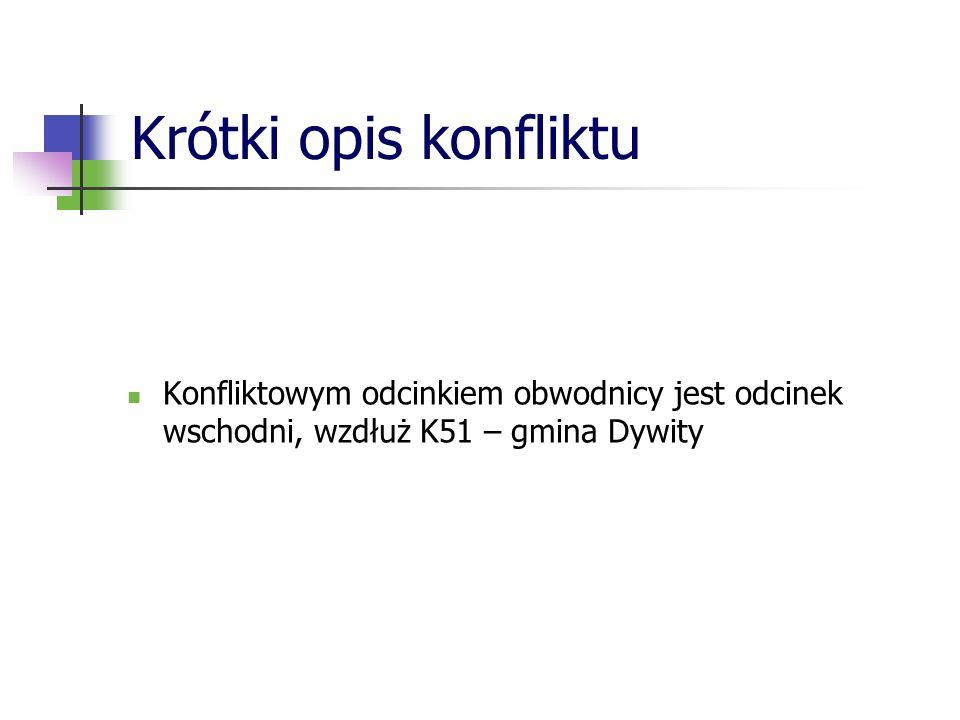 Krótki opis konfliktu Konfliktowym odcinkiem obwodnicy jest odcinek wschodni, wzdłuż K51 – gmina Dywity