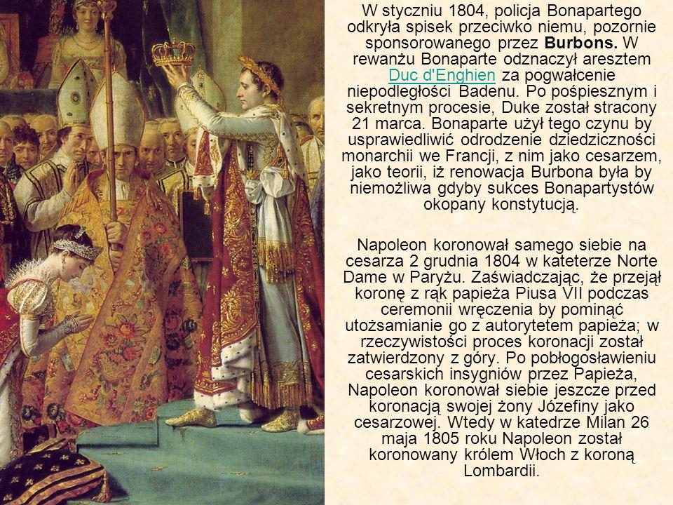 W styczniu 1804, policja Bonapartego odkryła spisek przeciwko niemu, pozornie sponsorowanego przez Burbons. W rewanżu Bonaparte odznaczył aresztem Duc