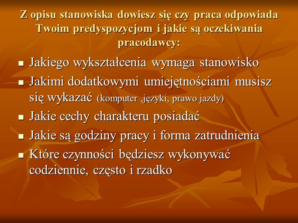 Na końcu, choć nieobowiązkowo możemy dodać: Referencje Zgodę na przetwarzanie danych Wersja polska - Wyrażam zgodę na przetwarzanie moich danych osobowych zawartych w ofercie pracy dla potrzeb niezbędnych do realizacji procesu rekrutacji (zgodnie z Ustawą z dnia 29.08.97 r.