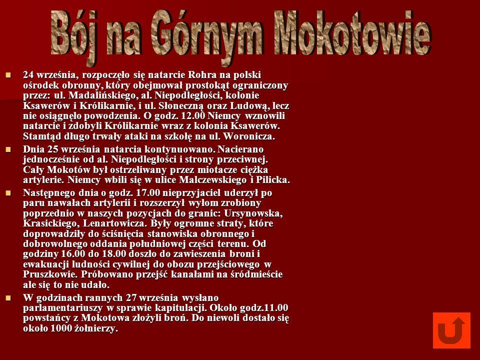 24 września, rozpoczęło się natarcie Rohra na polski ośrodek obronny, który obejmował prostokąt ograniczony przez: ul. Madalińskiego, al. Niepodległoś
