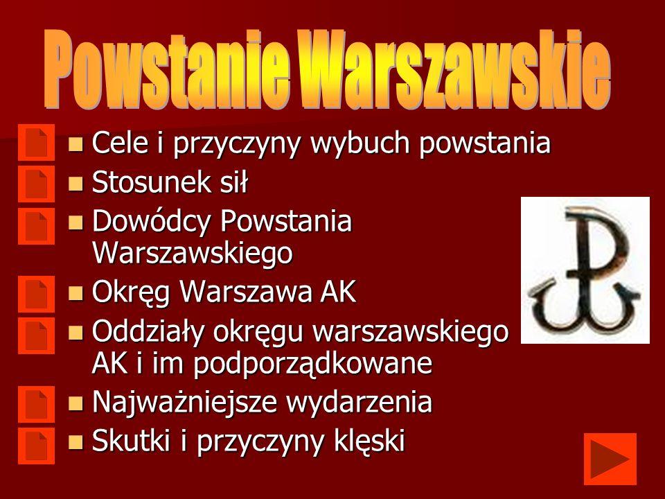 Włączenie Warszawy do akcji Burza Włączenie Warszawy do akcji Burza Zemsta na najeźdźcy Zemsta na najeźdźcy Wzrost nastrojów niepodległościowych Wzrost nastrojów niepodległościowych Próba ratowania powojennej suwerenności i przedwojennego kształtu granicy wschodniej Próba ratowania powojennej suwerenności i przedwojennego kształtu granicy wschodniej Odtworzenie w stolicy Polski legalnych władz państwowych, będących naturalną kontynuacją władz przedwojennych Odtworzenie w stolicy Polski legalnych władz państwowych, będących naturalną kontynuacją władz przedwojennych Uniemożliwienie narzucenia Polsce marionetkowych władz uzależnionych od Związku Radzieckiego, którego wojska właśnie zbliżały się do Warszawy Uniemożliwienie narzucenia Polsce marionetkowych władz uzależnionych od Związku Radzieckiego, którego wojska właśnie zbliżały się do Warszawy Zanegowanie między-alianckiego podziału na strefy operacyjne w myśl którego Polska znajdowała się w strefie operacyjnej ZSRR Zanegowanie między-alianckiego podziału na strefy operacyjne w myśl którego Polska znajdowała się w strefie operacyjnej ZSRR