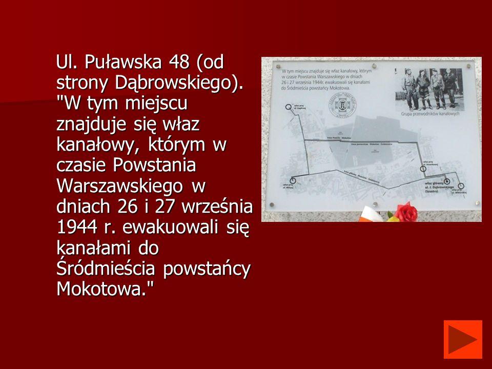 Ul. Puławska 48 (od strony Dąbrowskiego).