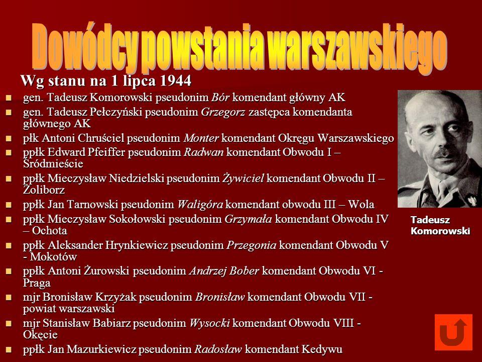 Wg stanu na 1 lipca 1944 Wg stanu na 1 lipca 1944 gen. Tadeusz Komorowski pseudonim Bór komendant główny AK gen. Tadeusz Komorowski pseudonim Bór kome