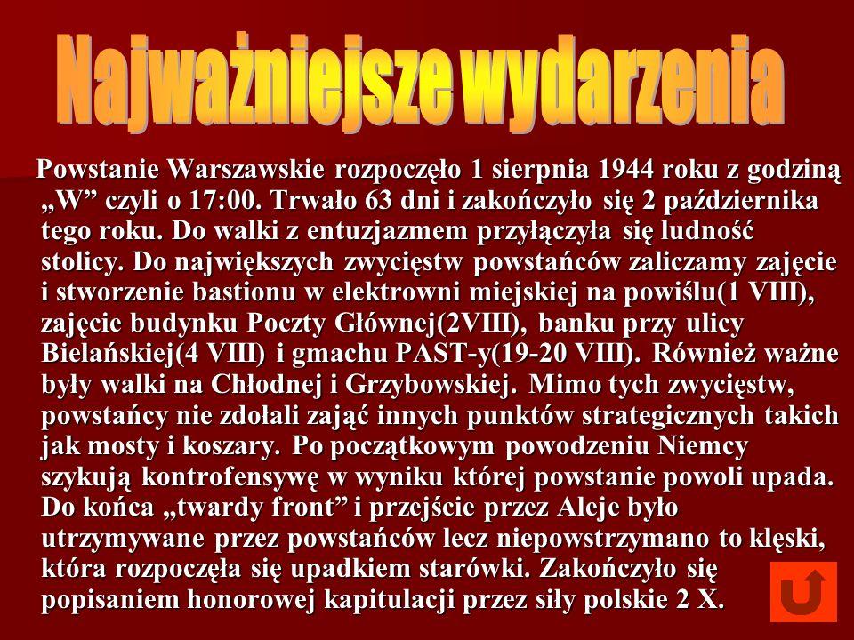 Powstanie Warszawskie rozpoczęło 1 sierpnia 1944 roku z godziną W czyli o 17:00. Trwało 63 dni i zakończyło się 2 października tego roku. Do walki z e