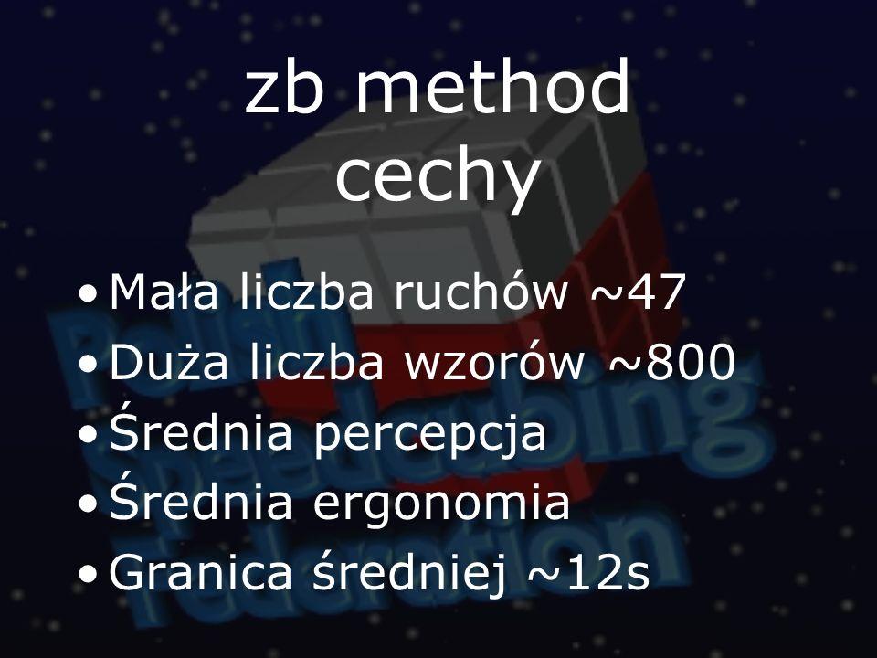 zb method cechy Mała liczba ruchów ~47 Duża liczba wzorów ~800 Średnia percepcja Średnia ergonomia Granica średniej ~12s