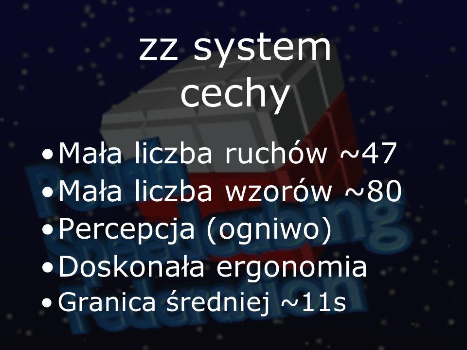 zz system cechy Mała liczba ruchów ~47 Mała liczba wzorów ~80 Percepcja (ogniwo) Doskonała ergonomia Granica średniej ~11s