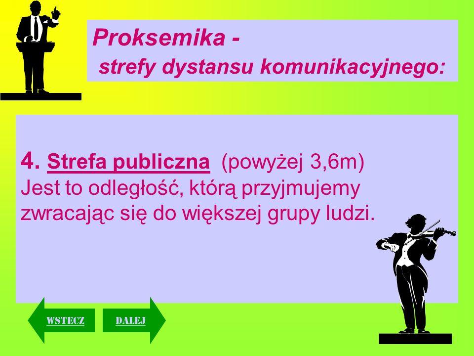 Proksemika - strefy dystansu komunikacyjnego: 4. Strefa publiczna (powyżej 3,6m) Jest to odległość, którą przyjmujemy zwracając się do większej grupy