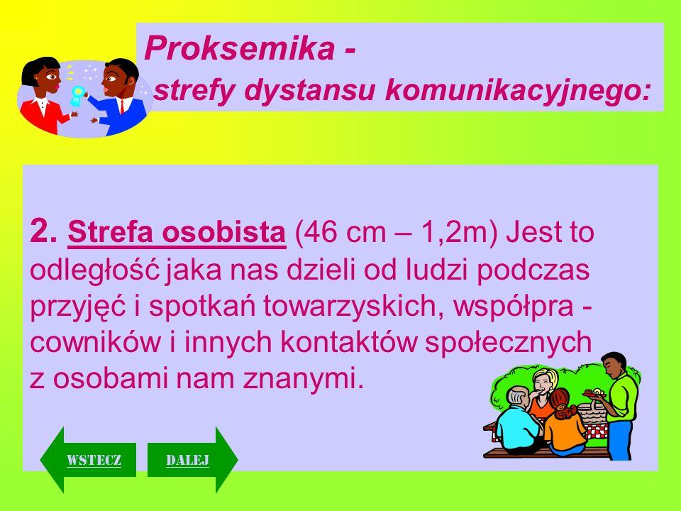 3.Strefa społeczna (1,2m – 3,6m) Tę odległość zachowujemy w stosunku do nieznajomych, np.