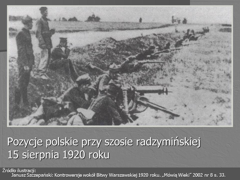 Pozycje polskie przy szosie radzymińskiej 15 sierpnia 1920 roku Źródło ilustracji: Janusz Szczepański: Kontrowersje wokół Bitwy Warszawskiej 1920 roku