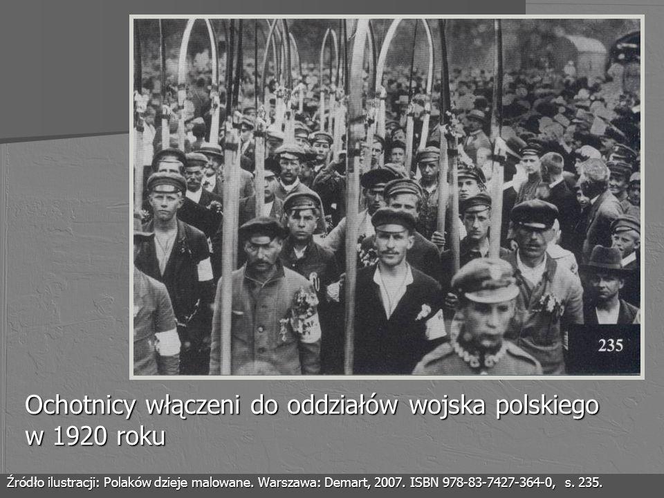 Ochotnicy włączeni do oddziałów wojska polskiego w 1920 roku Źródło ilustracji: Polaków dzieje malowane. Warszawa: Demart, 2007. ISBN 978-83-7427-364-