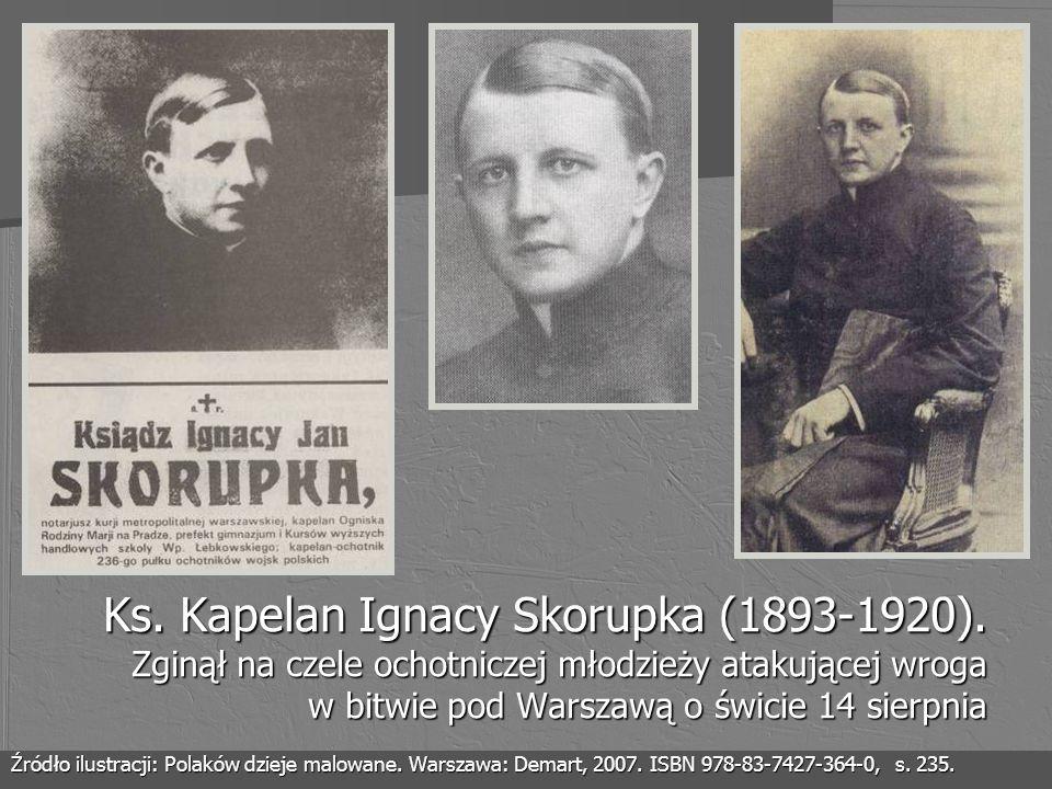 Ks. Kapelan Ignacy Skorupka (1893-1920). Zginął na czele ochotniczej młodzieży atakującej wroga w bitwie pod Warszawą o świcie 14 sierpnia Źródło ilus