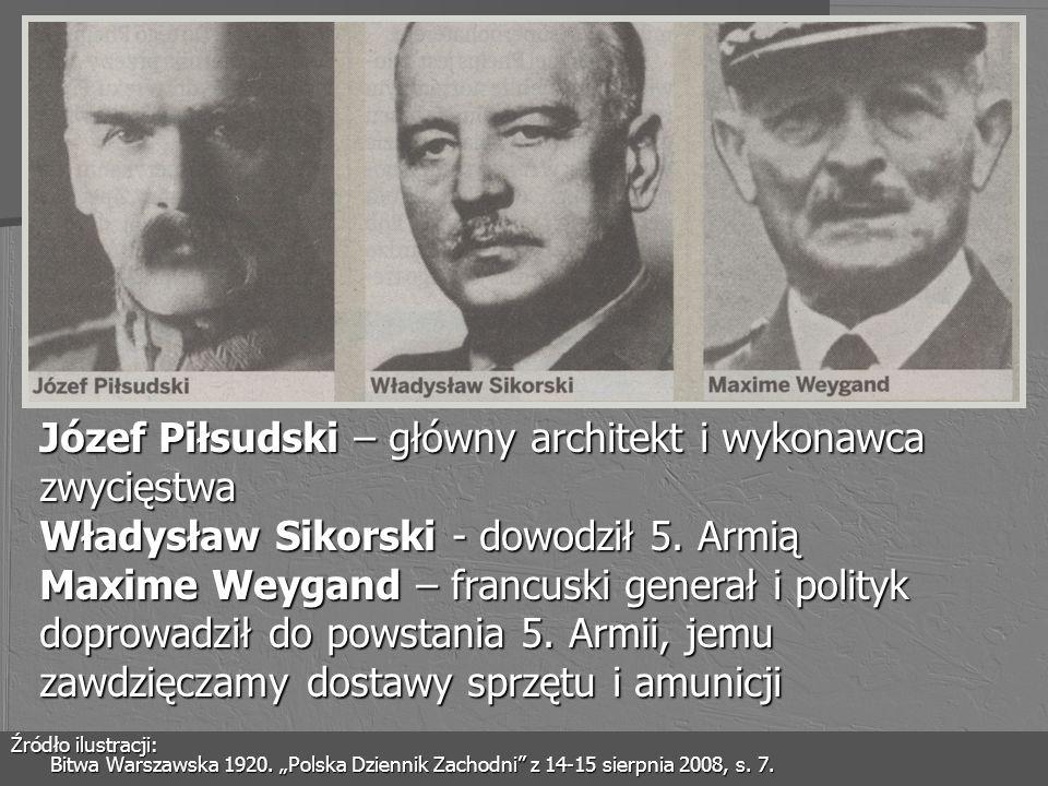 Józef Piłsudski – główny architekt i wykonawca zwycięstwa Władysław Sikorski - dowodził 5. Armią Maxime Weygand – francuski generał i polityk doprowad