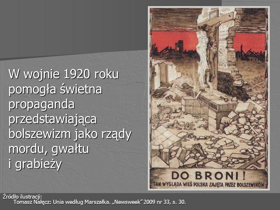 W wojnie 1920 roku pomogła świetna propaganda przedstawiająca bolszewizm jako rządy mordu, gwałtu i grabieży Źródło ilustracji: Tomasz Nałęcz: Unia we