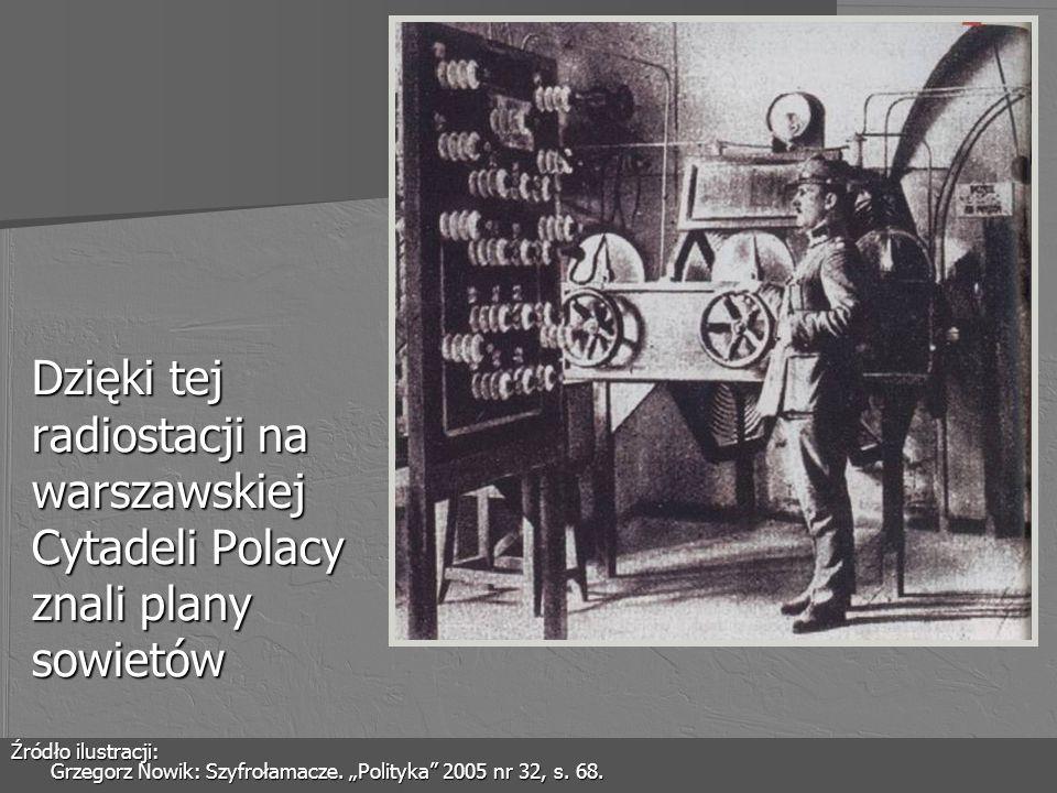 Dzięki tej radiostacji na warszawskiej Cytadeli Polacy znali plany sowietów Źródło ilustracji: Grzegorz Nowik: Szyfrołamacze. Polityka 2005 nr 32, s.