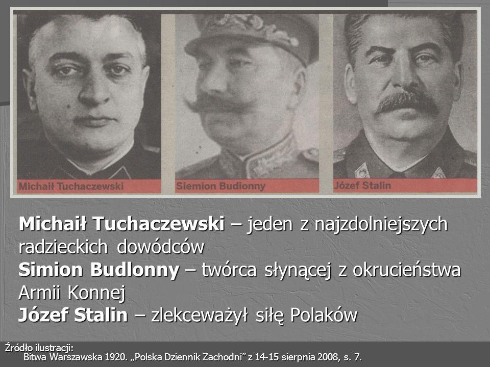 Michaił Tuchaczewski – jeden z najzdolniejszych radzieckich dowódców Simion Budlonny – twórca słynącej z okrucieństwa Armii Konnej Józef Stalin – zlek