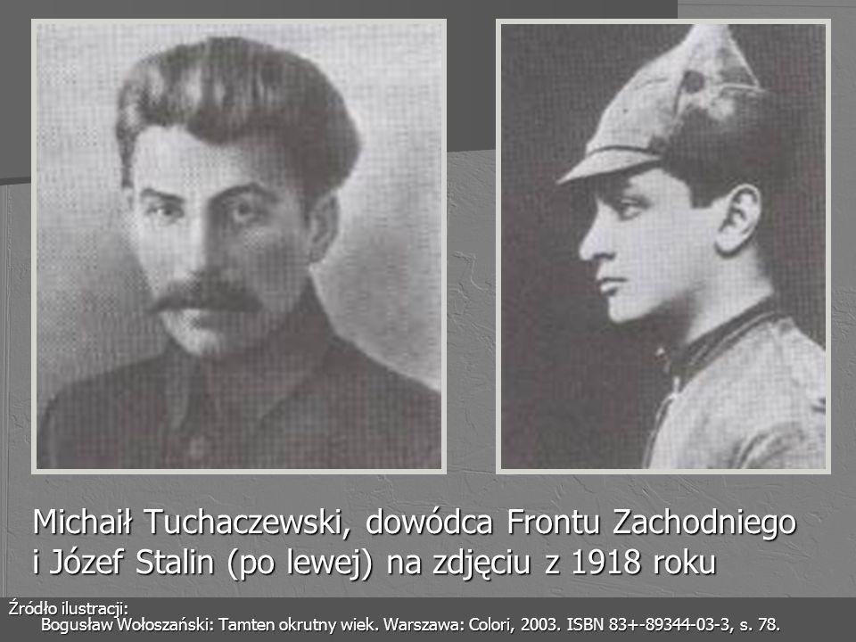Michaił Tuchaczewski, dowódca Frontu Zachodniego i Józef Stalin (po lewej) na zdjęciu z 1918 roku Źródło ilustracji: Bogusław Wołoszański: Tamten okru