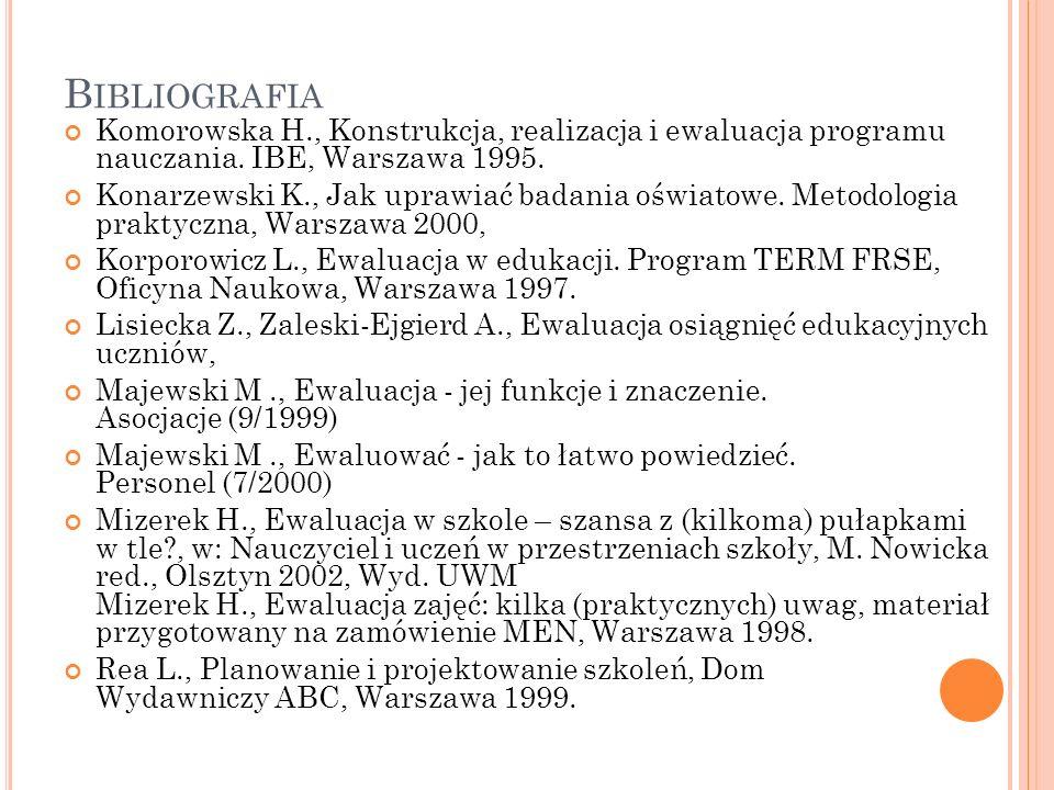 B IBLIOGRAFIA Komorowska H., Konstrukcja, realizacja i ewaluacja programu nauczania. IBE, Warszawa 1995. Konarzewski K., Jak uprawiać badania oświatow