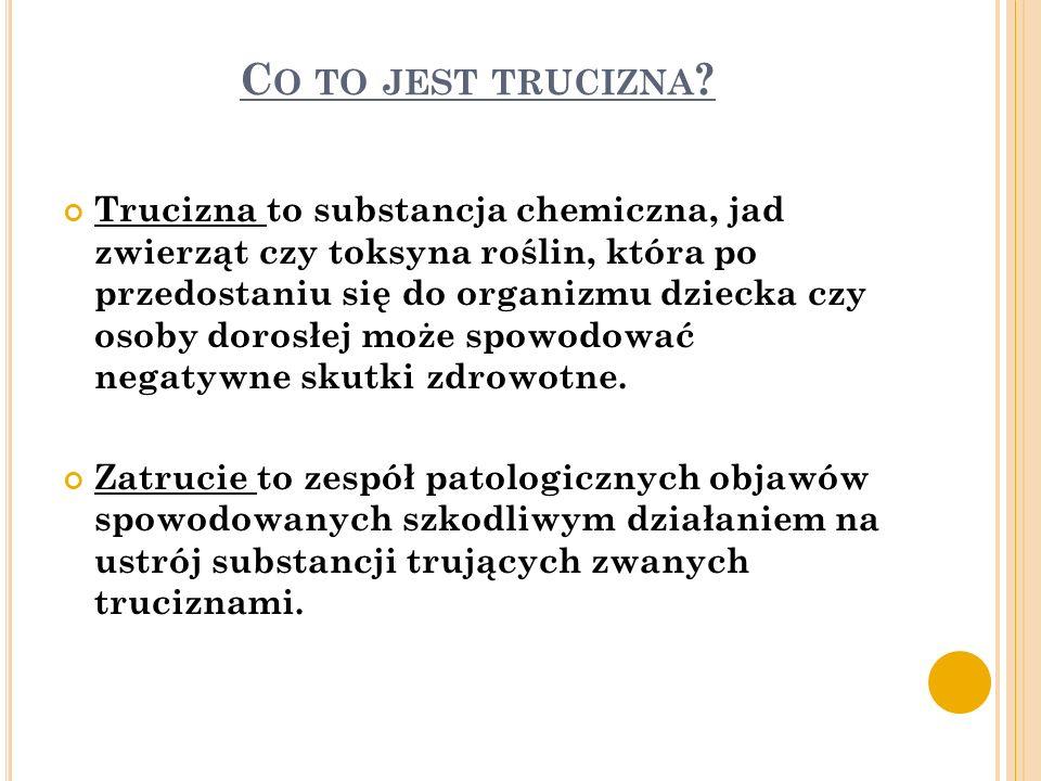 C O TO JEST TRUCIZNA ? Trucizna to substancja chemiczna, jad zwierząt czy toksyna roślin, która po przedostaniu się do organizmu dziecka czy osoby dor
