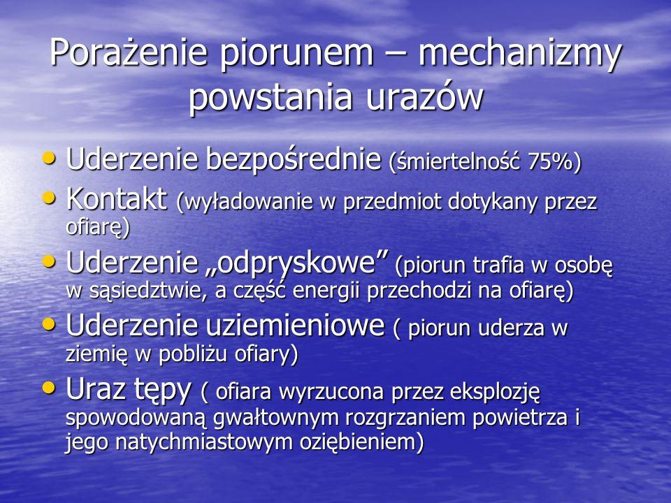 Porażenie piorunem – mechanizmy powstania urazów Uderzenie bezpośrednie (śmiertelność 75%) Uderzenie bezpośrednie (śmiertelność 75%) Kontakt (wyładowa