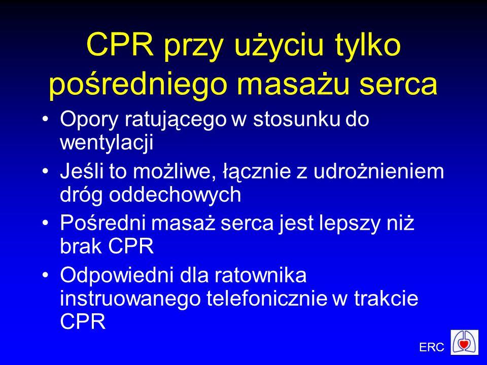 ERC CPR przy użyciu tylko pośredniego masażu serca Opory ratującego w stosunku do wentylacji Jeśli to możliwe, łącznie z udrożnieniem dróg oddechowych