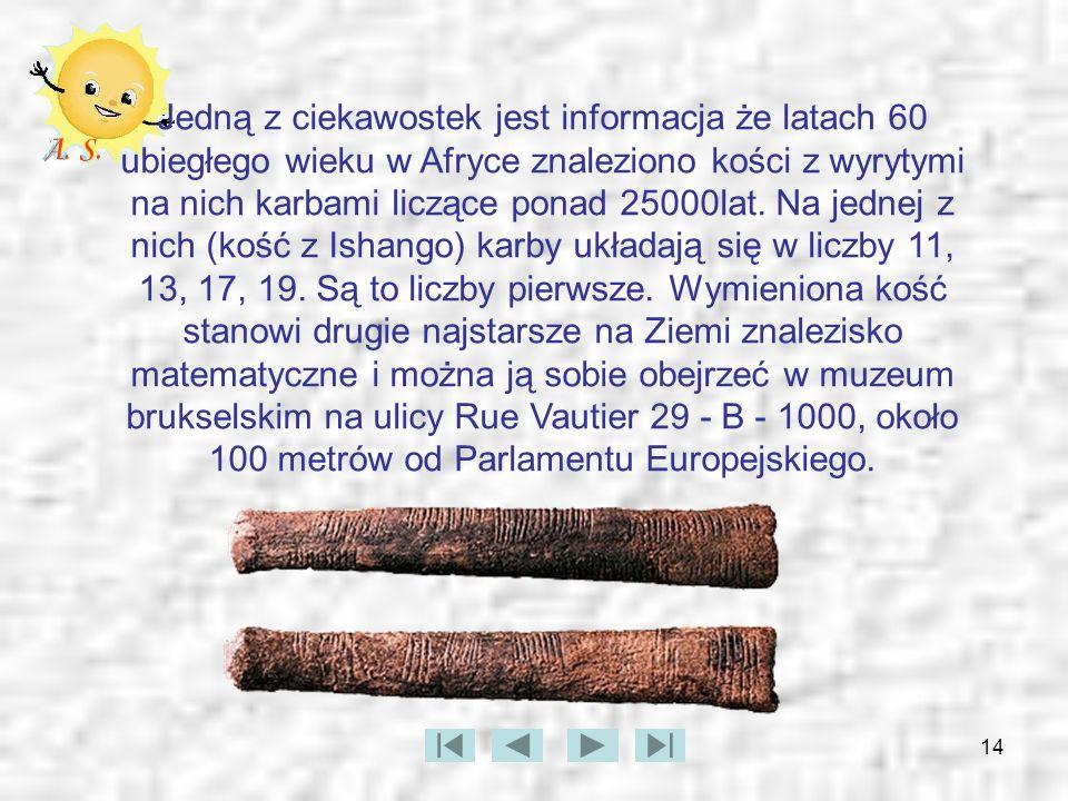 14 Jedną z ciekawostek jest informacja że latach 60 ubiegłego wieku w Afryce znaleziono kości z wyrytymi na nich karbami liczące ponad 25000lat. Na je
