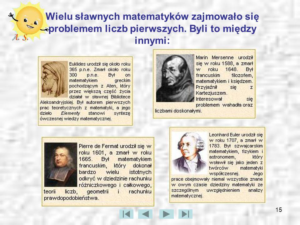 15 Wielu sławnych matematyków zajmowało się problemem liczb pierwszych. Byli to między innymi: