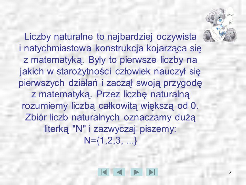 2 Liczby naturalne to najbardziej oczywista i natychmiastowa konstrukcja kojarząca się z matematyką. Były to pierwsze liczby na jakich w starożytności