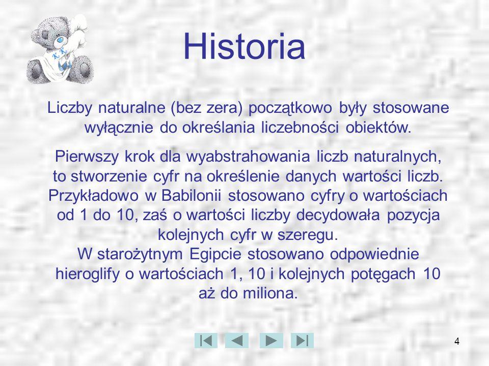 4 Historia Liczby naturalne (bez zera) początkowo były stosowane wyłącznie do określania liczebności obiektów. Pierwszy krok dla wyabstrahowania liczb
