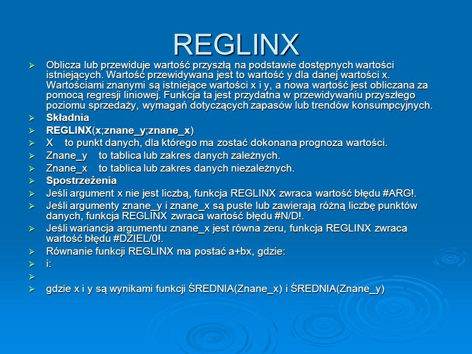 REGLINX Oblicza lub przewiduje wartość przyszłą na podstawie dostępnych wartości istniejących.