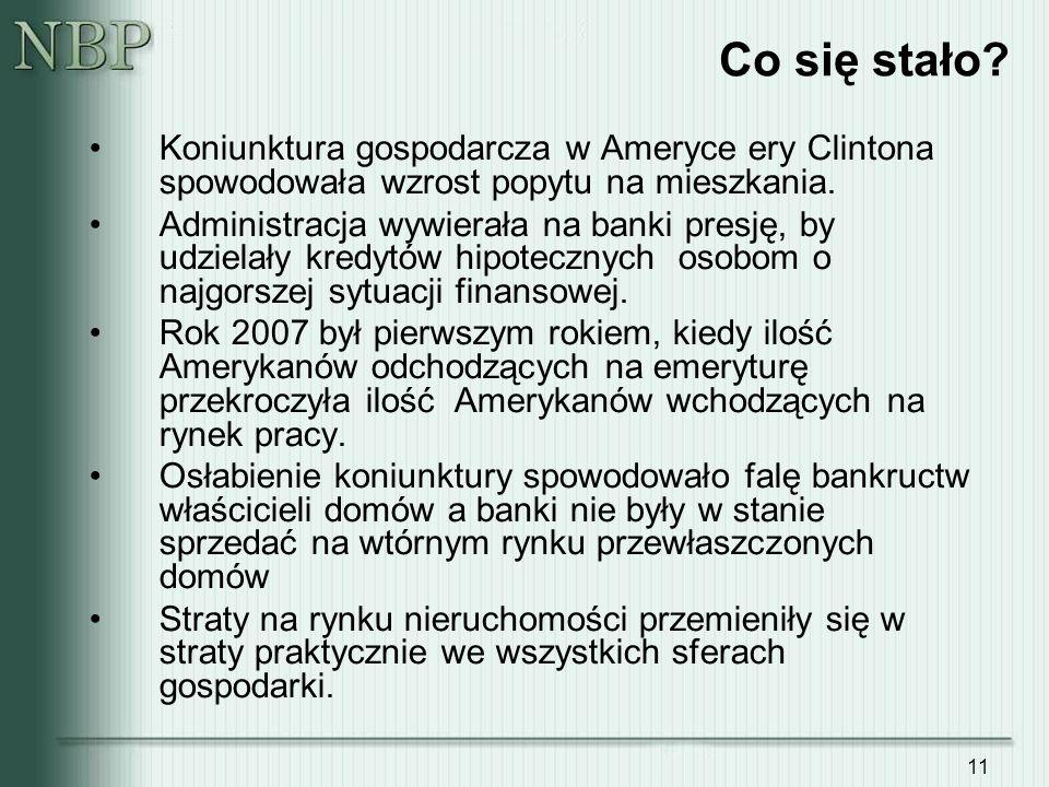 11 Co się stało? Koniunktura gospodarcza w Ameryce ery Clintona spowodowała wzrost popytu na mieszkania. Administracja wywierała na banki presję, by u