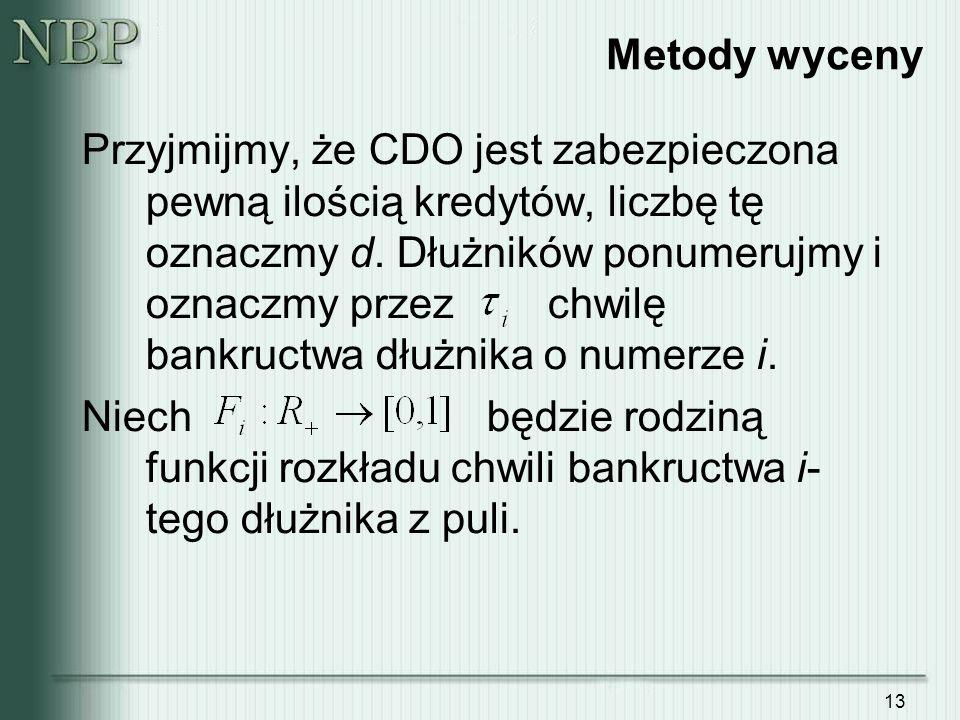13 Metody wyceny Przyjmijmy, że CDO jest zabezpieczona pewną ilością kredytów, liczbę tę oznaczmy d.