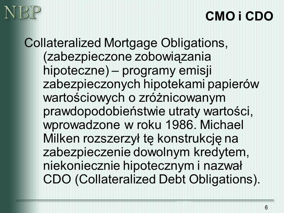 6 CMO i CDO Collateralized Mortgage Obligations, (zabezpieczone zobowiązania hipoteczne) – programy emisji zabezpieczonych hipotekami papierów wartościowych o zróżnicowanym prawdopodobieństwie utraty wartości, wprowadzone w roku 1986.