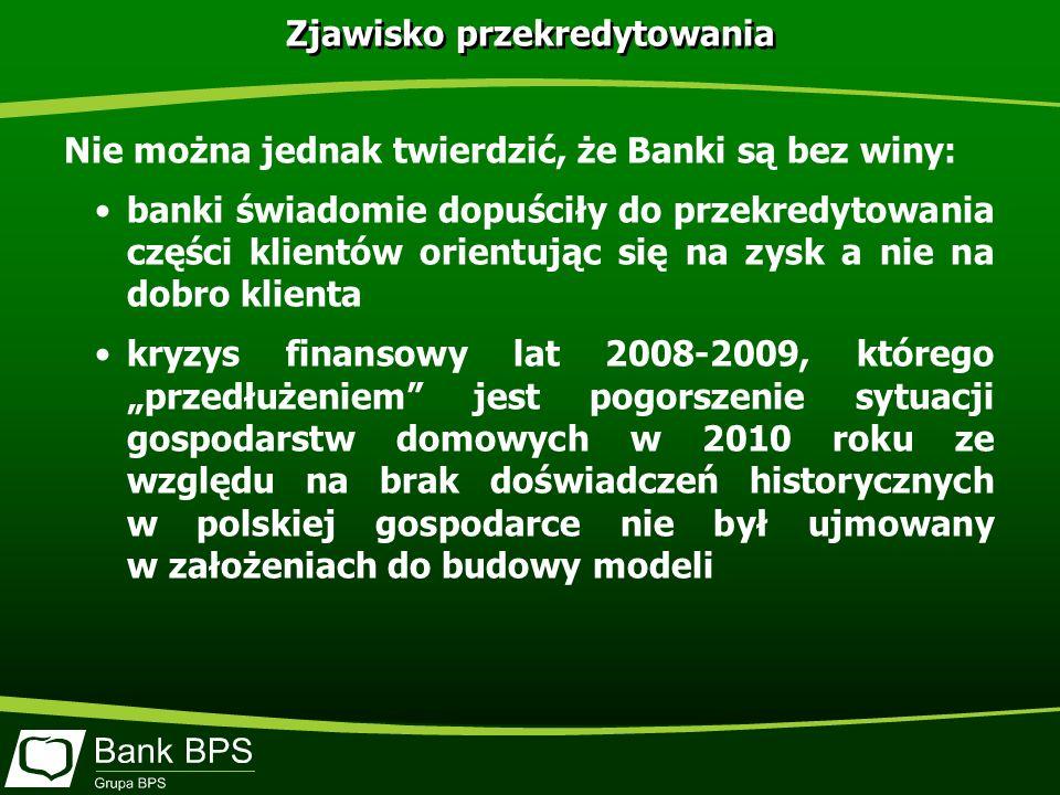 Zjawisko przekredytowania Nie można jednak twierdzić, że Banki są bez winy: banki świadomie dopuściły do przekredytowania części klientów orientując się na zysk a nie na dobro klienta kryzys finansowy lat 2008-2009, którego przedłużeniem jest pogorszenie sytuacji gospodarstw domowych w 2010 roku ze względu na brak doświadczeń historycznych w polskiej gospodarce nie był ujmowany w założeniach do budowy modeli