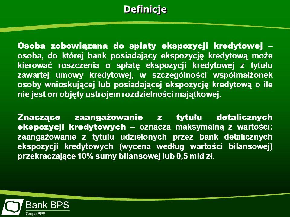 Definicje Osoba zobowiązana do spłaty ekspozycji kredytowej – osoba, do której bank posiadający ekspozycję kredytową może kierować roszczenia o spłatę ekspozycji kredytowej z tytułu zawartej umowy kredytowej, w szczególności współmałżonek osoby wnioskującej lub posiadającej ekspozycję kredytową o ile nie jest on objęty ustrojem rozdzielności majątkowej.