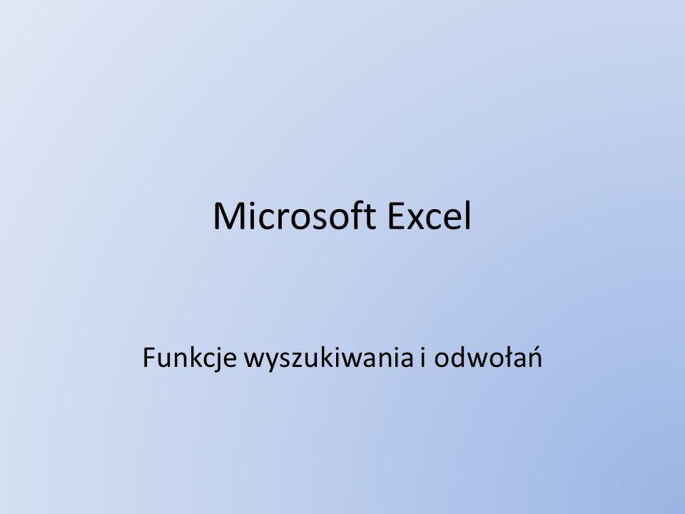 Microsoft Excel Funkcje wyszukiwania i odwołań